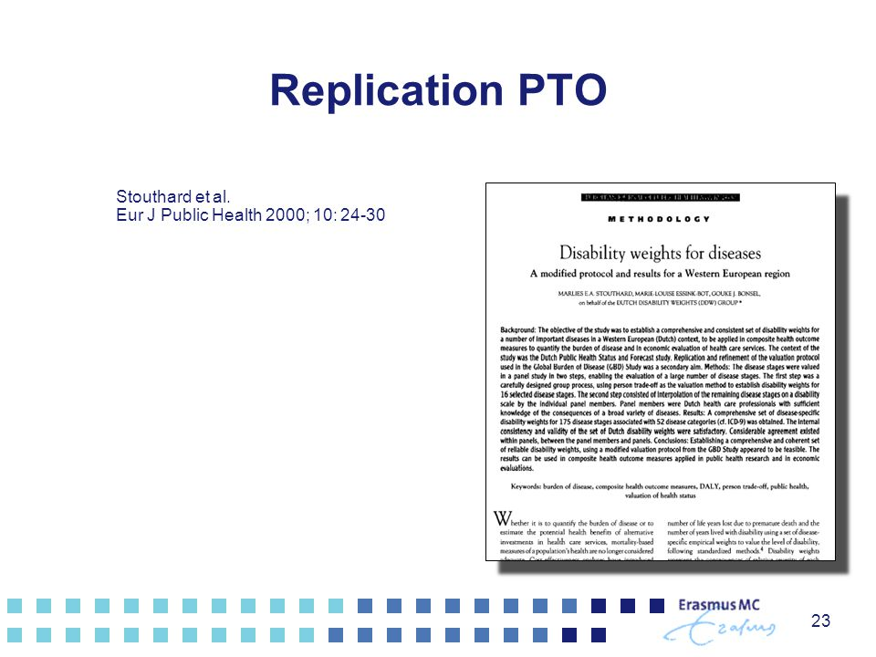 Replication PTO Stouthard et al. Eur J Public Health 2000; 10: 24-30