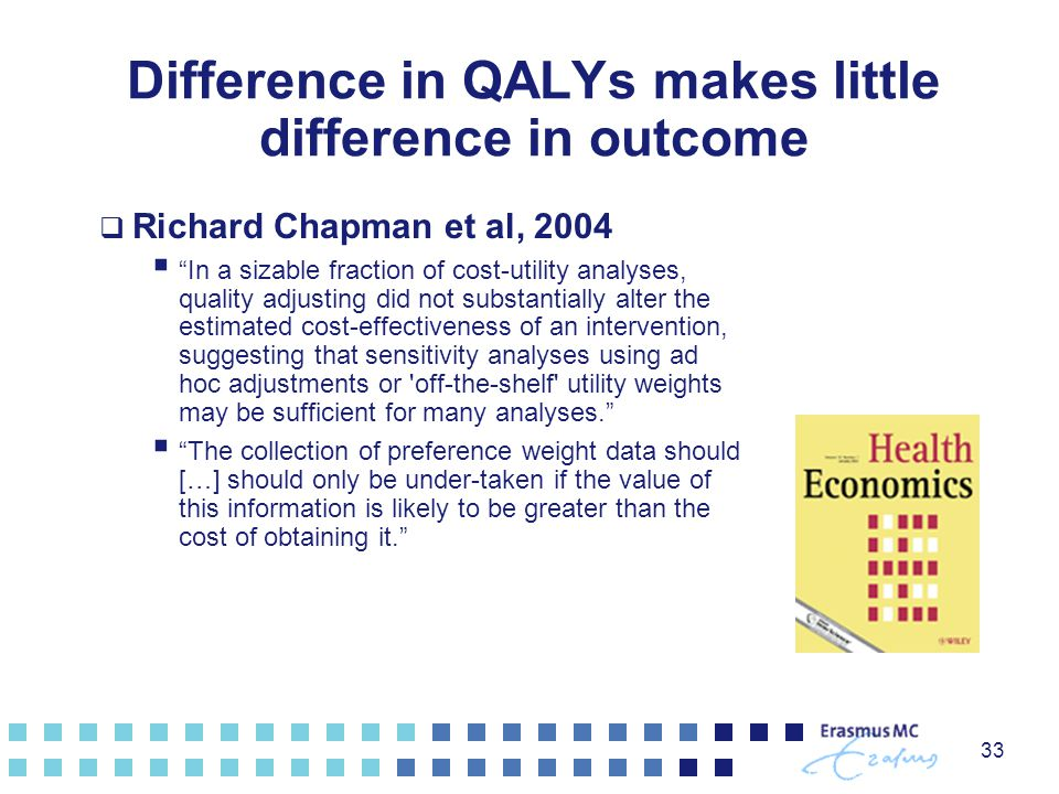 Difference in QALYs makes little difference in outcome