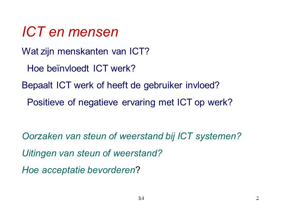 ICT en mensen Wat zijn menskanten van ICT Hoe beïnvloedt ICT werk