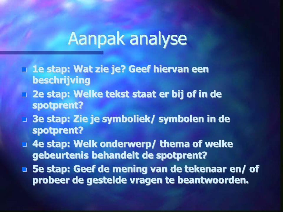 Aanpak analyse 1e stap: Wat zie je Geef hiervan een beschrijving