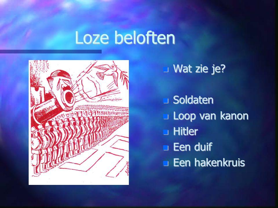 Loze beloften Wat zie je Soldaten Loop van kanon Hitler Een duif