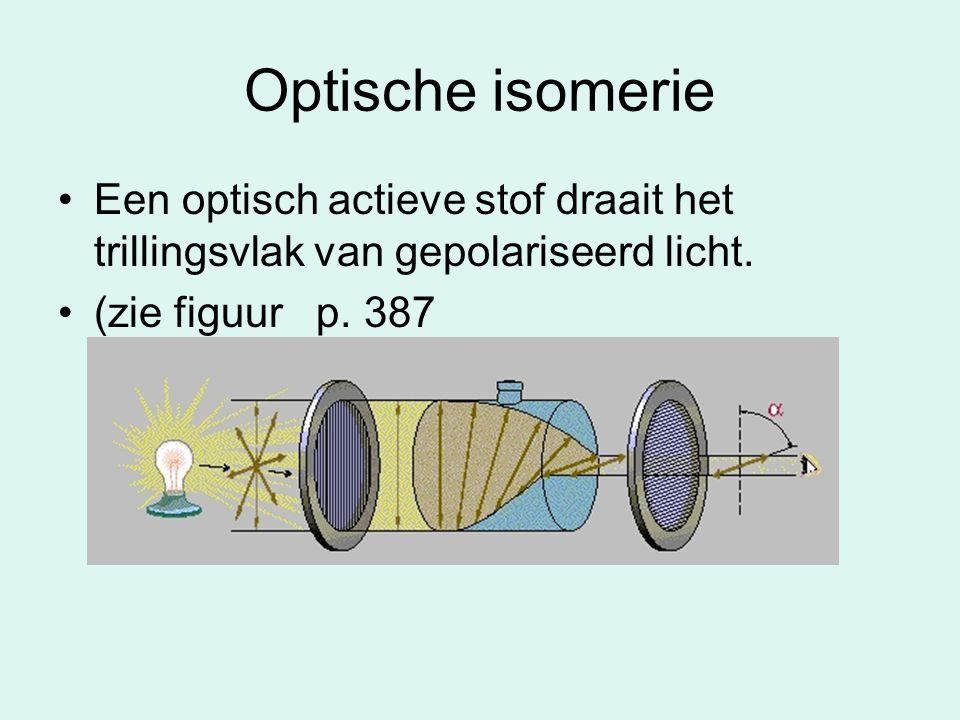 Optische isomerie Een optisch actieve stof draait het trillingsvlak van gepolariseerd licht.