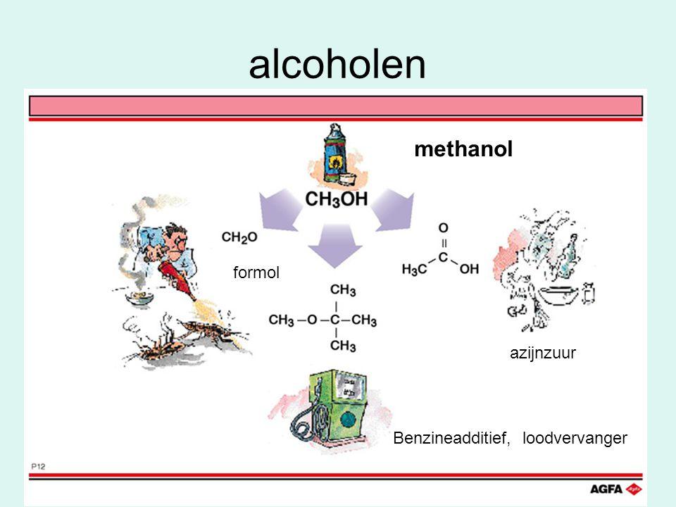 alcoholen methanol formol azijnzuur Benzineadditief, loodvervanger