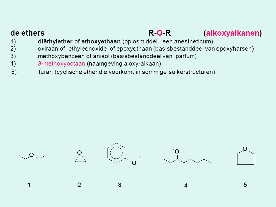 de ethers R-O-R (alkoxyalkanen)