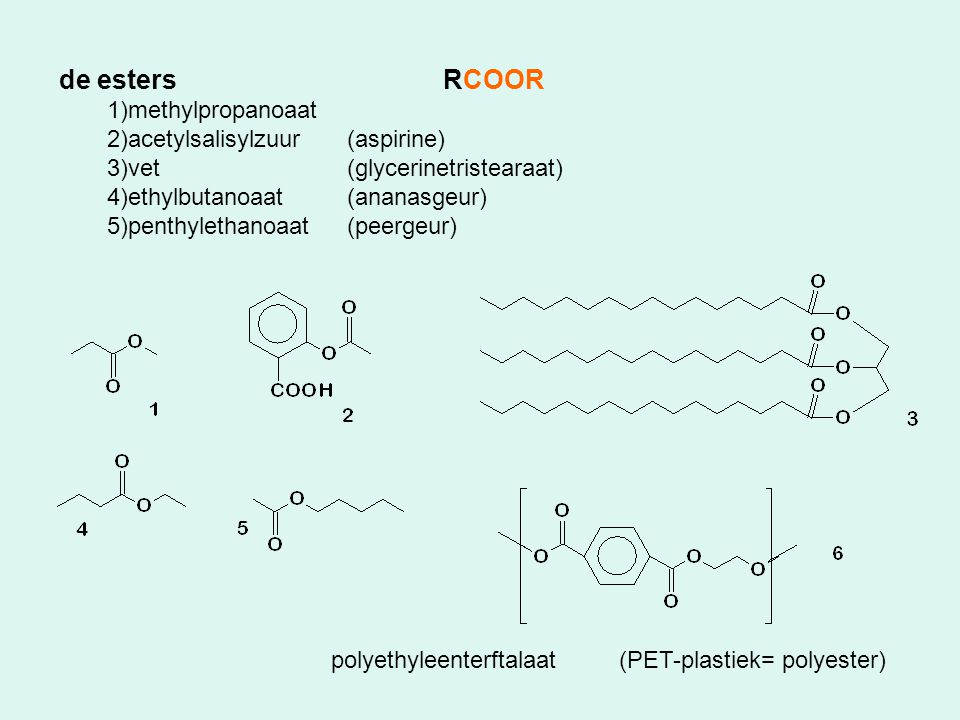 de esters RCOOR methylpropanoaat acetylsalisylzuur (aspirine)