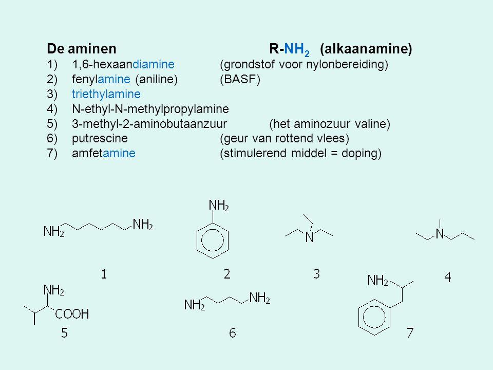 De aminen R-NH2 (alkaanamine)