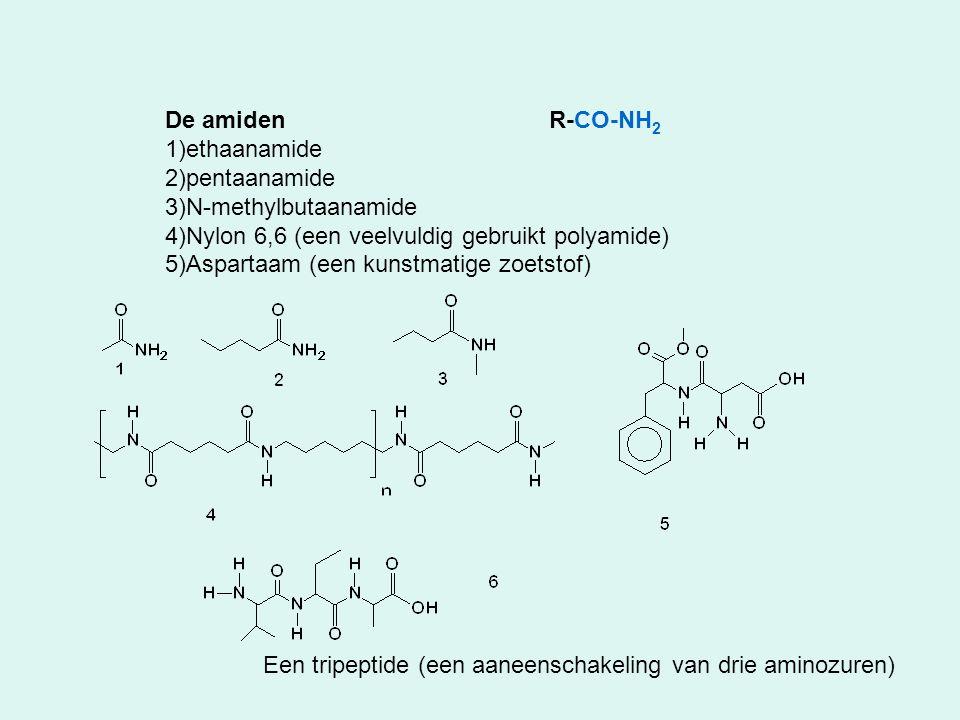 De amiden R-CO-NH2 ethaanamide. pentaanamide. N-methylbutaanamide. Nylon 6,6 (een veelvuldig gebruikt polyamide)