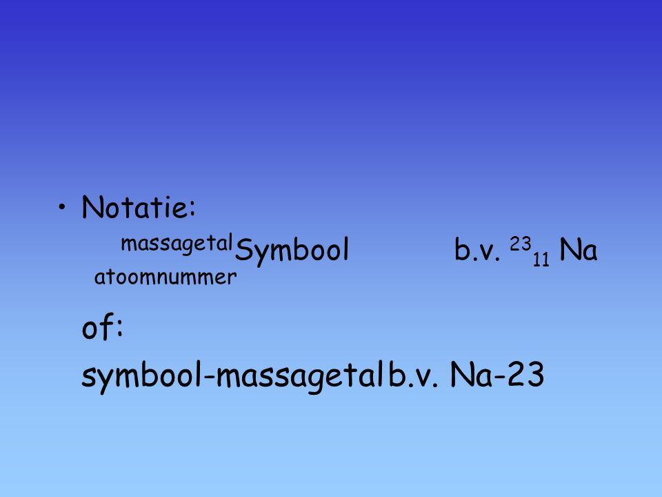 massagetalSymbool b.v. 2311 Na atoomnummer of: