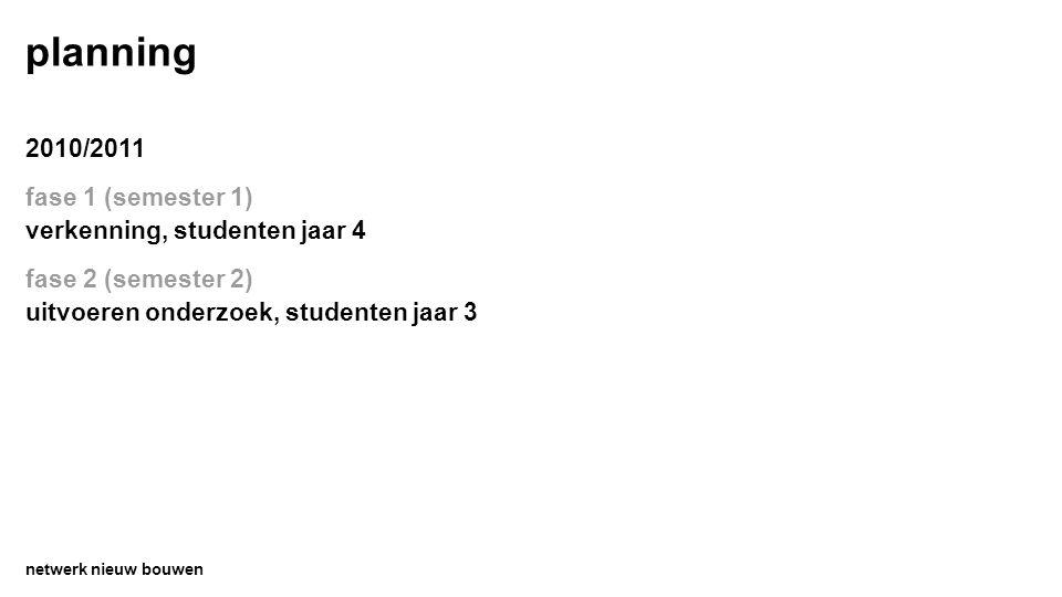 planning 2010/2011 fase 1 (semester 1) verkenning, studenten jaar 4