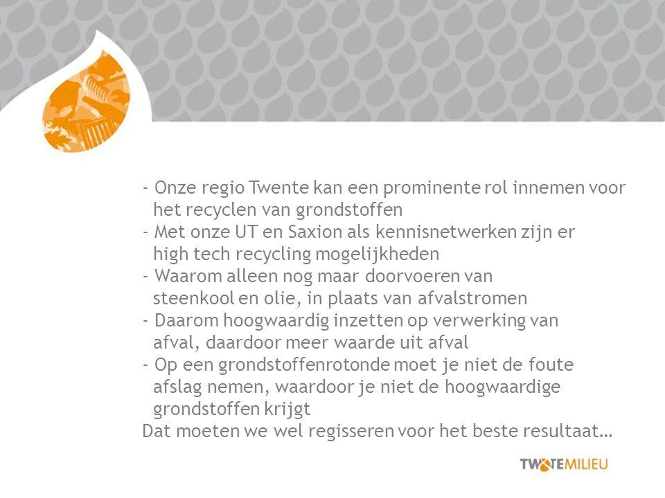Onze regio Twente kan een prominente rol innemen voor