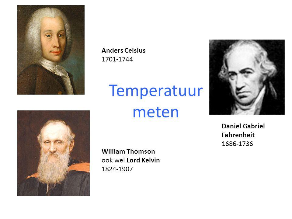 Temperatuur meten Anders Celsius 1701-1744 Daniel Gabriel Fahrenheit