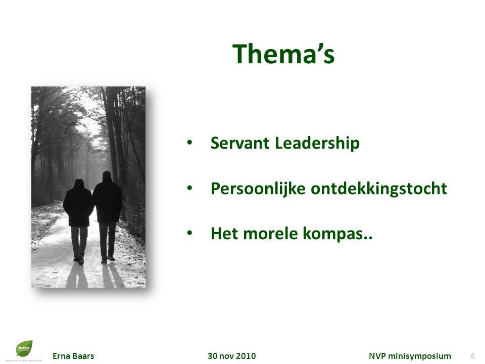 Thema's Servant Leadership Persoonlijke ontdekkingstocht