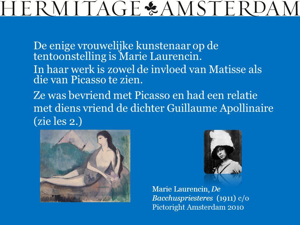 De enige vrouwelijke kunstenaar op de tentoonstelling is Marie Laurencin.