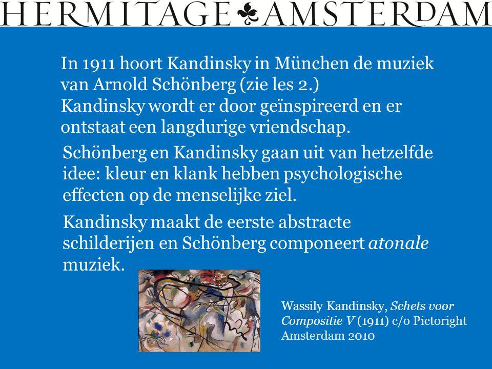 In 1911 hoort Kandinsky in München de muziek van Arnold Schönberg (zie les 2.)