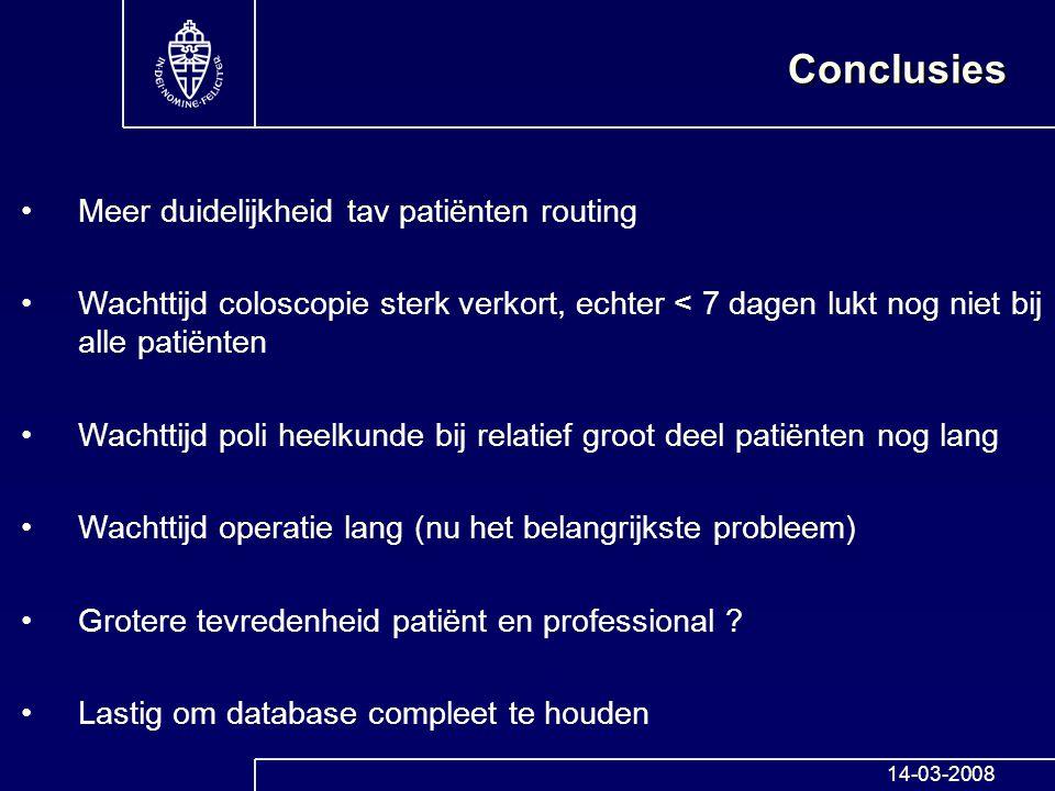 Conclusies Meer duidelijkheid tav patiënten routing