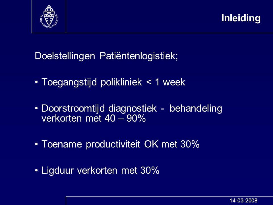 Doelstellingen Patiëntenlogistiek;