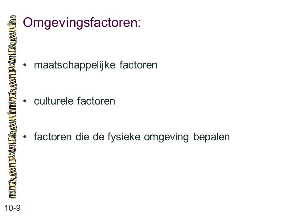 Omgevingsfactoren: • maatschappelijke factoren • culturele factoren