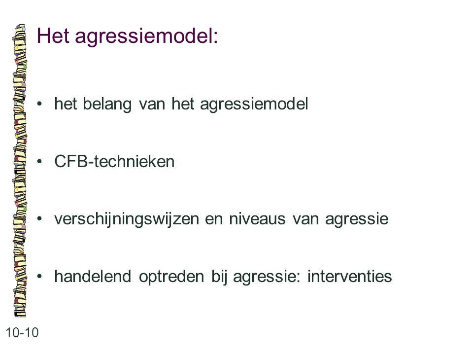 Het agressiemodel: • het belang van het agressiemodel • CFB-technieken