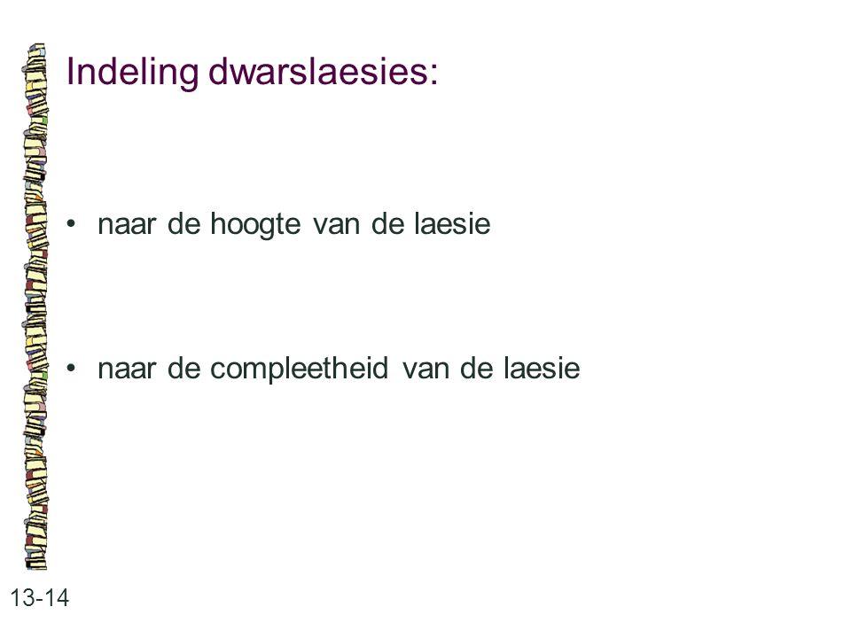 Indeling dwarslaesies: