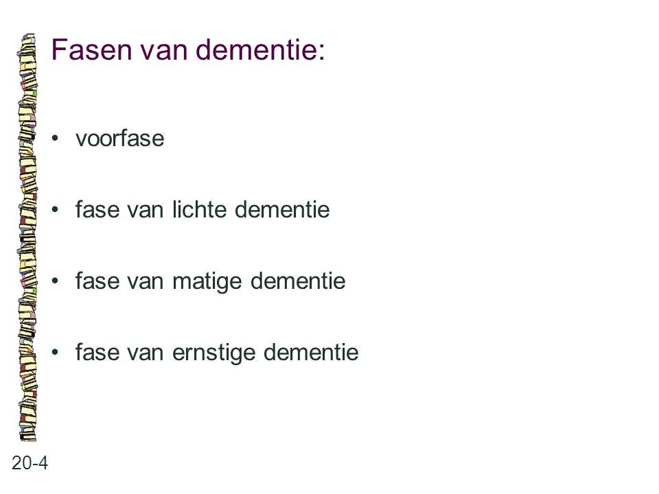 Fasen van dementie: • voorfase • fase van lichte dementie
