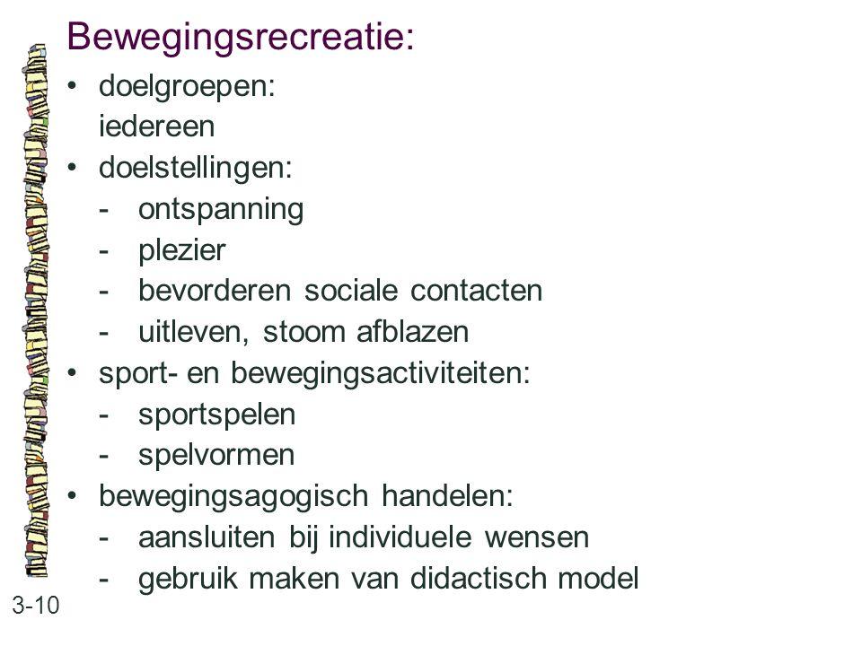 Bewegingsrecreatie: • doelgroepen: iedereen • doelstellingen:
