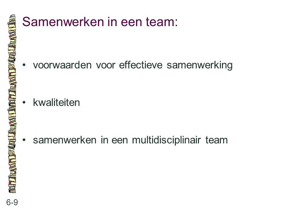 Samenwerken in een team: