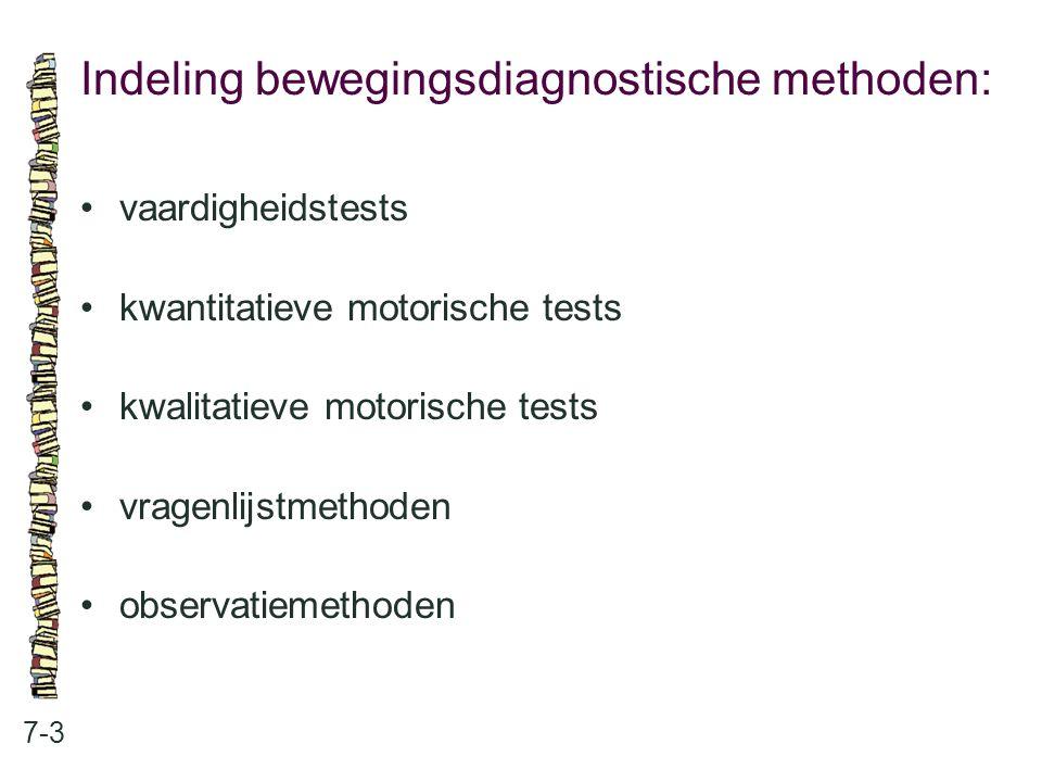 Indeling bewegingsdiagnostische methoden: