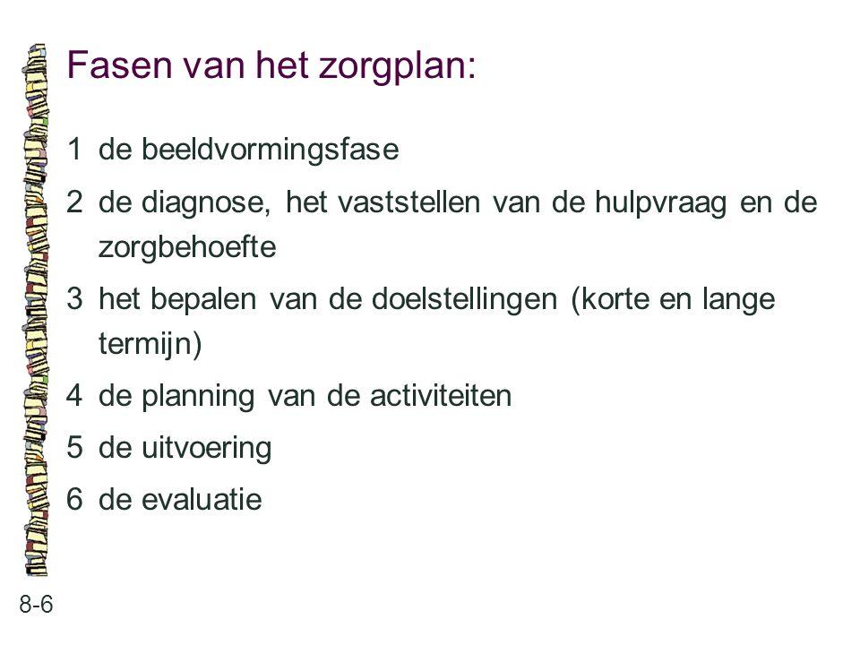 Fasen van het zorgplan: