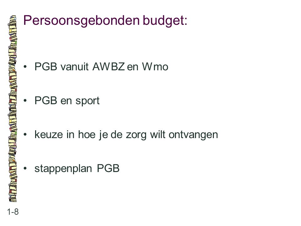 Persoonsgebonden budget:
