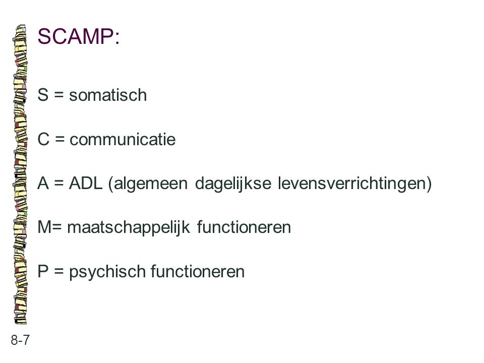 SCAMP: S = somatisch C = communicatie