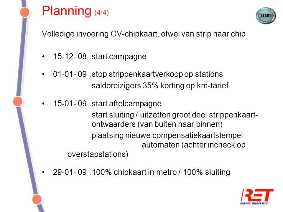Planning (4/4) Volledige invoering OV-chipkaart, ofwel van strip naar chip. 15-12-'08 . start campagne.