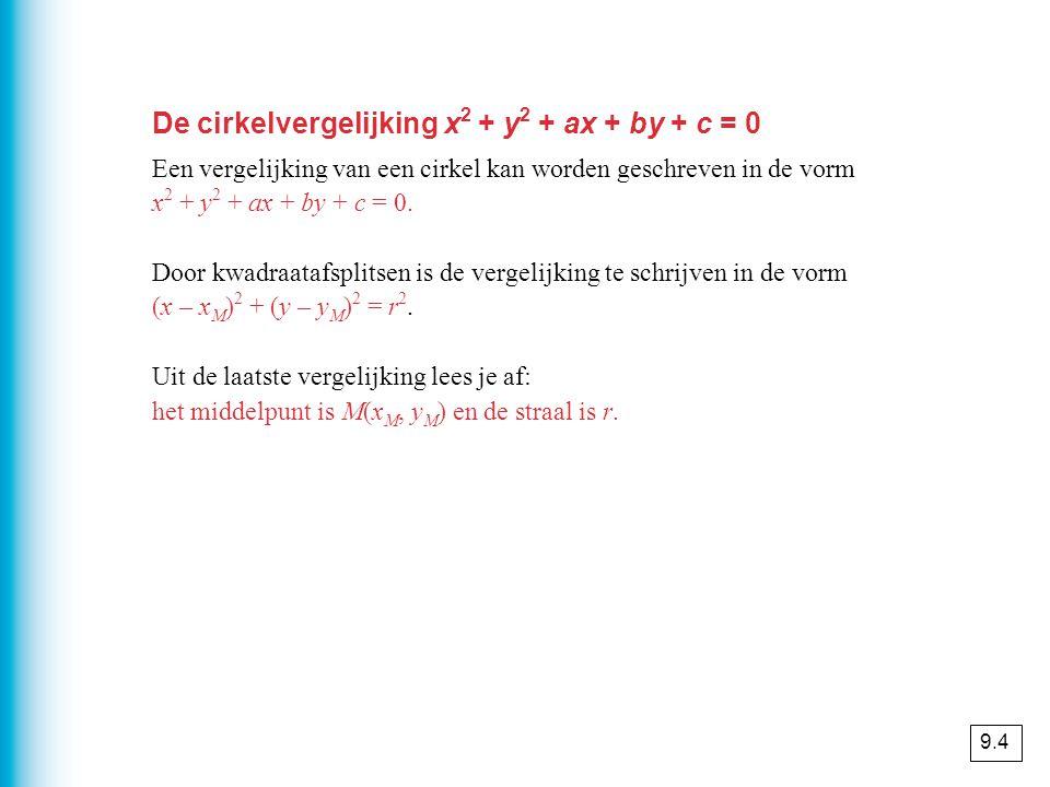 De cirkelvergelijking x2 + y2 + ax + by + c = 0