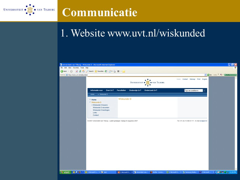 Communicatie 1. Website www.uvt.nl/wiskunded