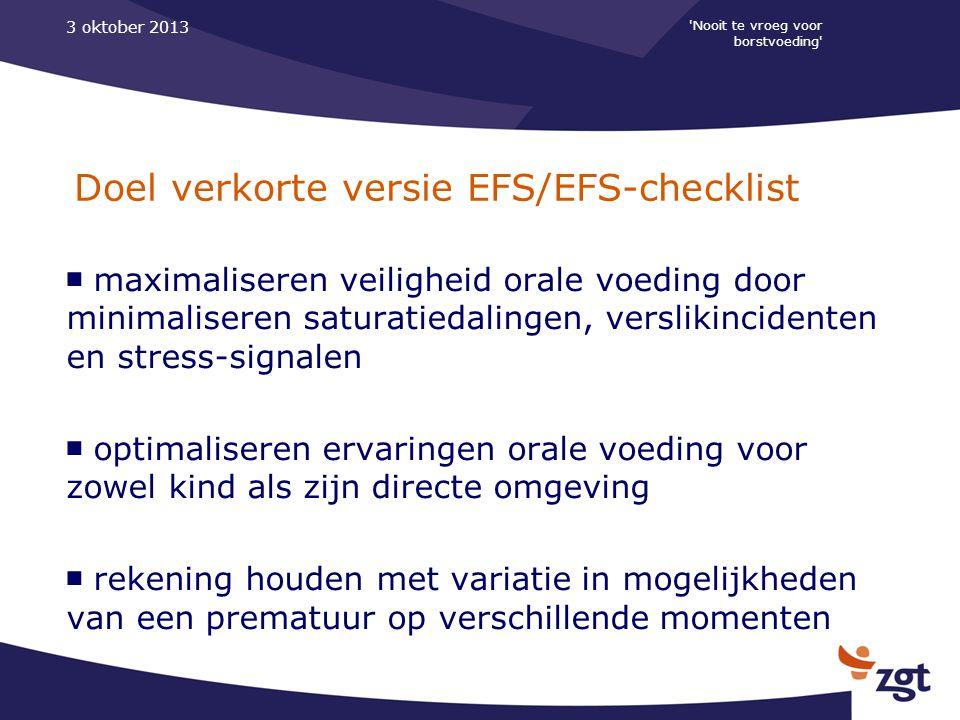 Doel verkorte versie EFS/EFS-checklist