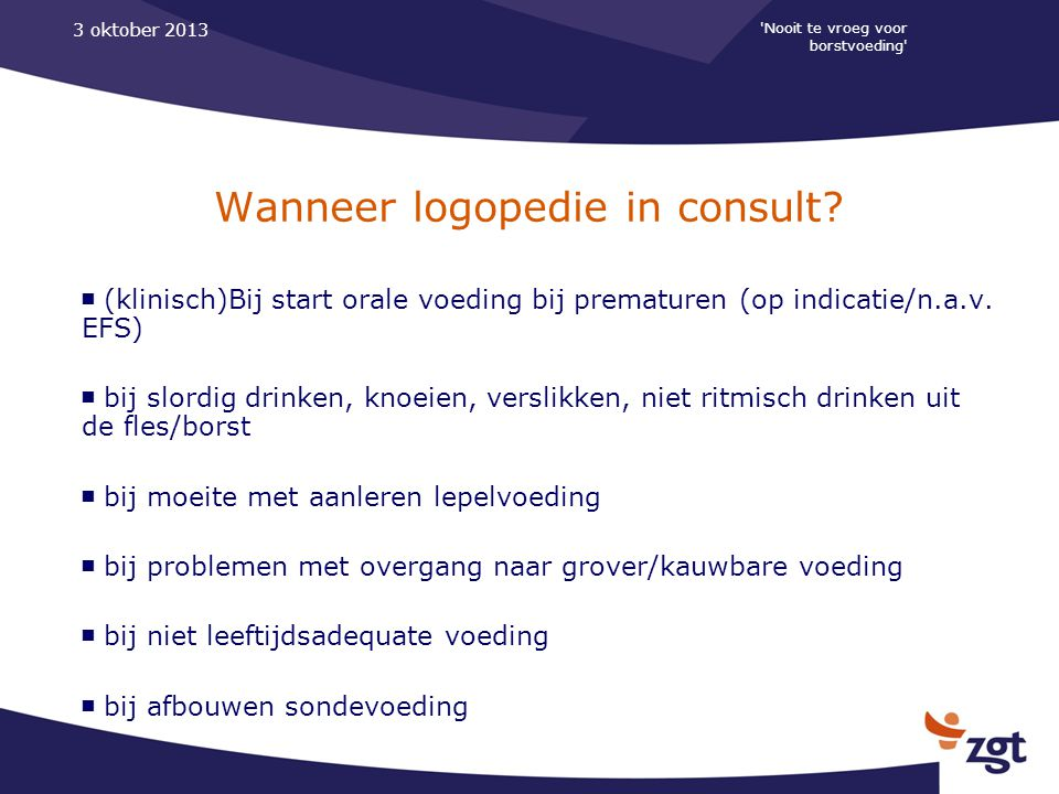 Wanneer logopedie in consult