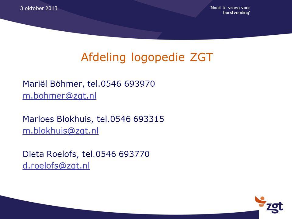 Afdeling logopedie ZGT