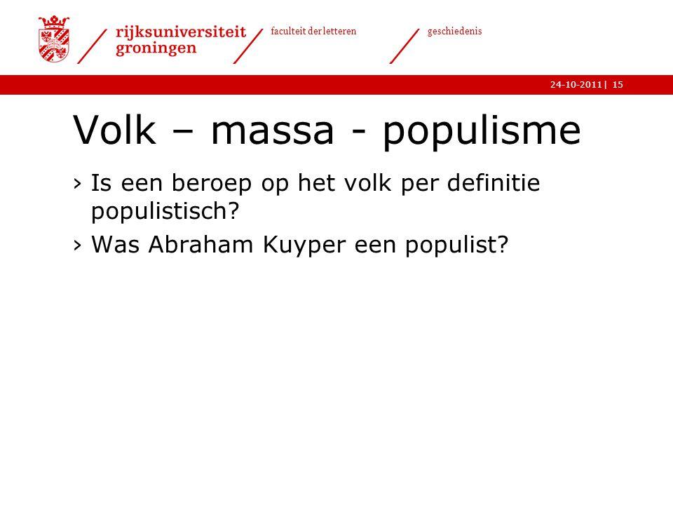 Volk – massa - populisme