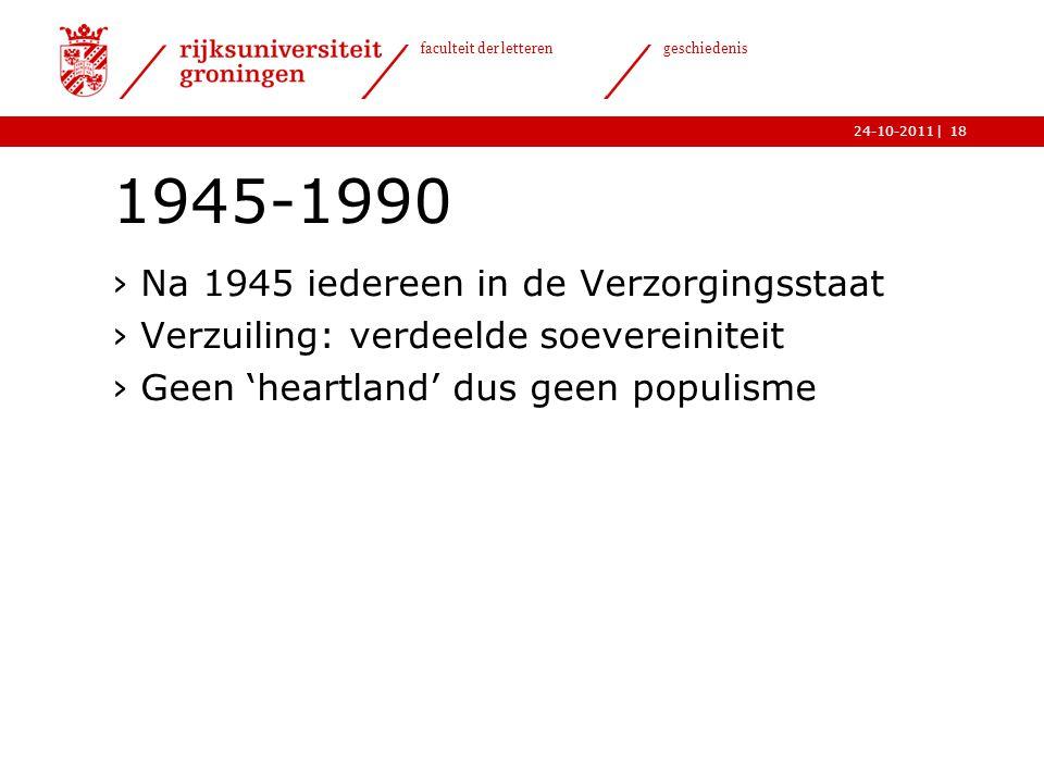 1945-1990 Na 1945 iedereen in de Verzorgingsstaat