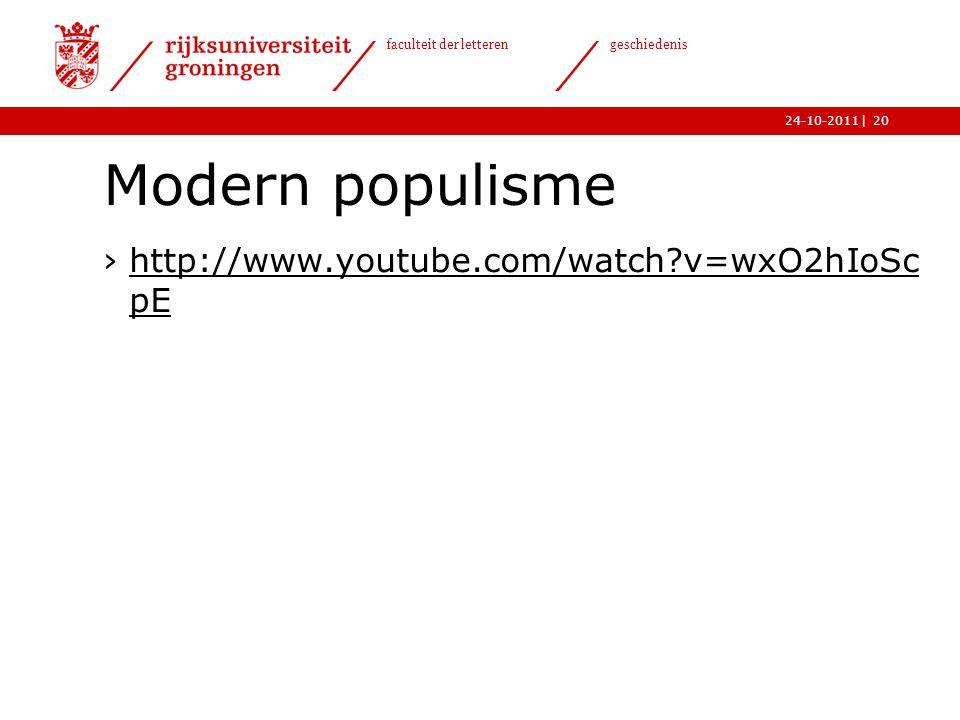 Modern populisme http://www.youtube.com/watch v=wxO2hIoScpE
