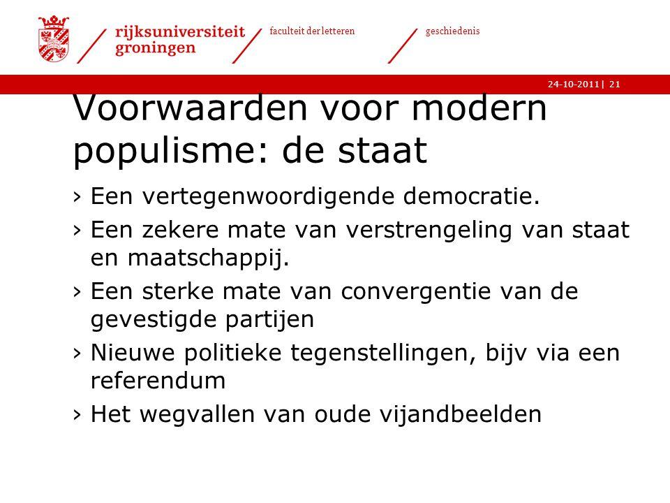 Voorwaarden voor modern populisme: de staat