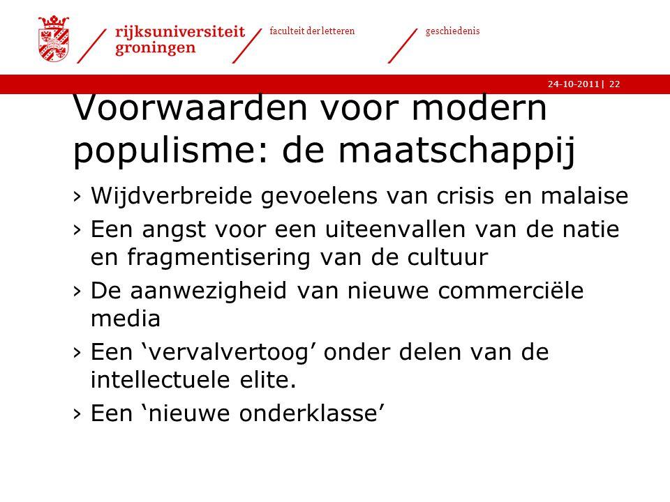 Voorwaarden voor modern populisme: de maatschappij