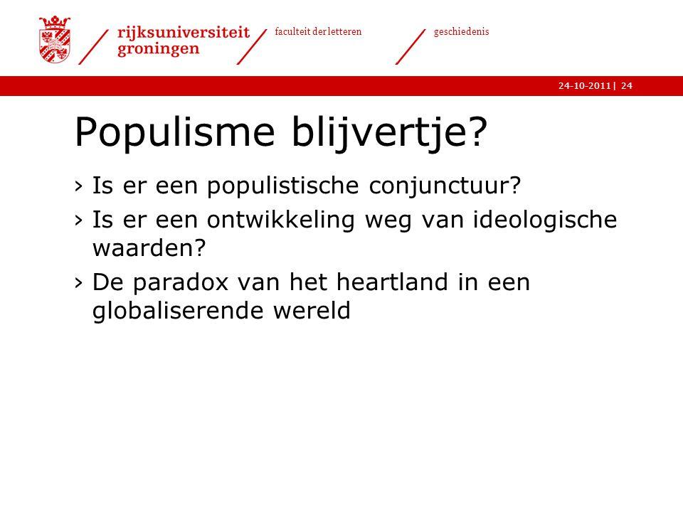 Populisme blijvertje Is er een populistische conjunctuur