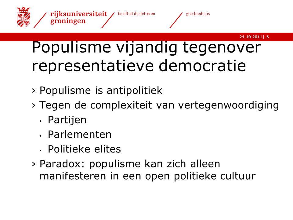 Populisme vijandig tegenover representatieve democratie