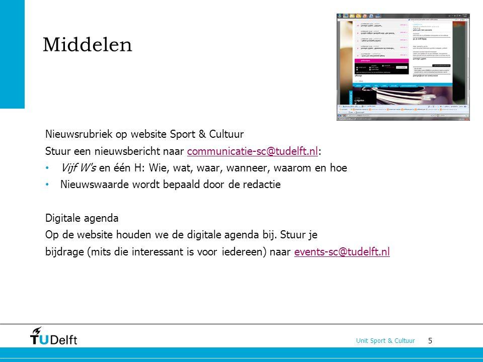 Middelen Nieuwsrubriek op website Sport & Cultuur