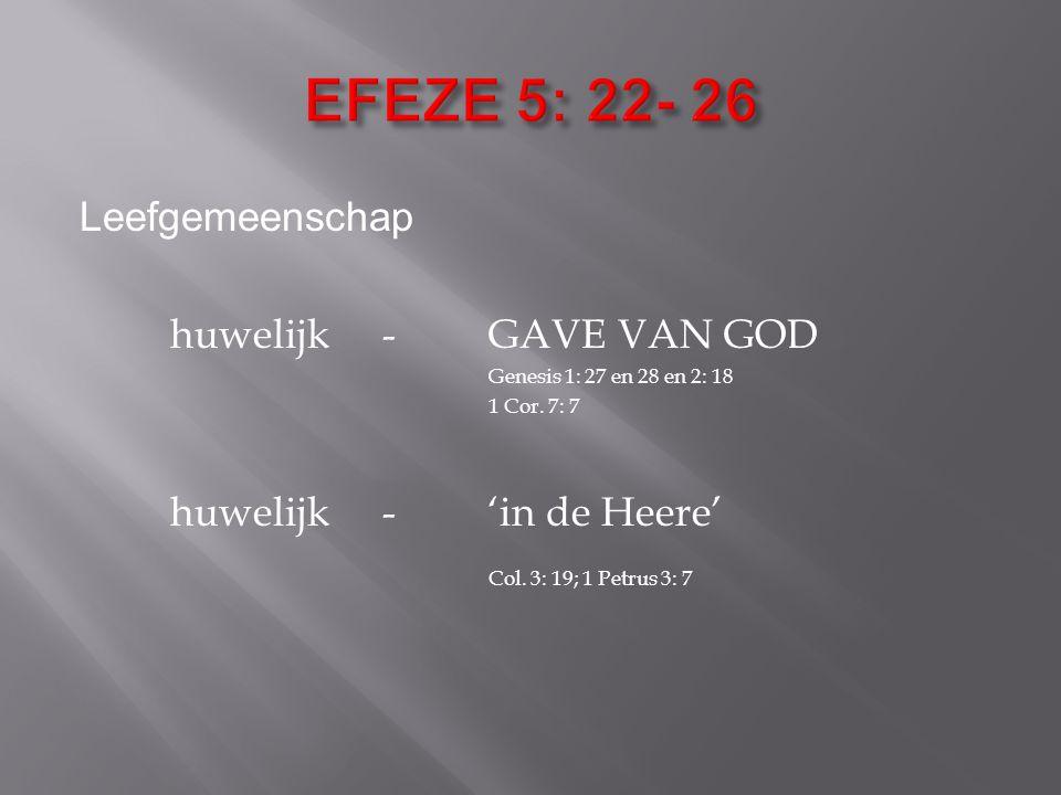 EFEZE 5: 22- 26 Leefgemeenschap huwelijk - GAVE VAN GOD