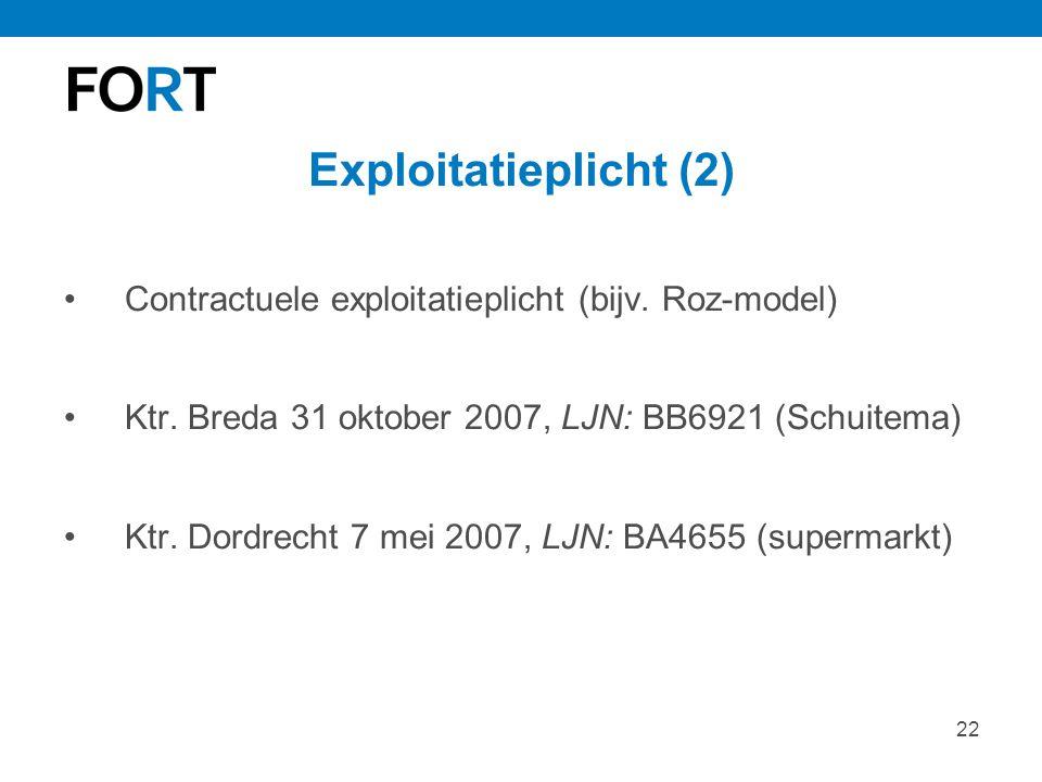 Exploitatieplicht (2) Contractuele exploitatieplicht (bijv. Roz-model)