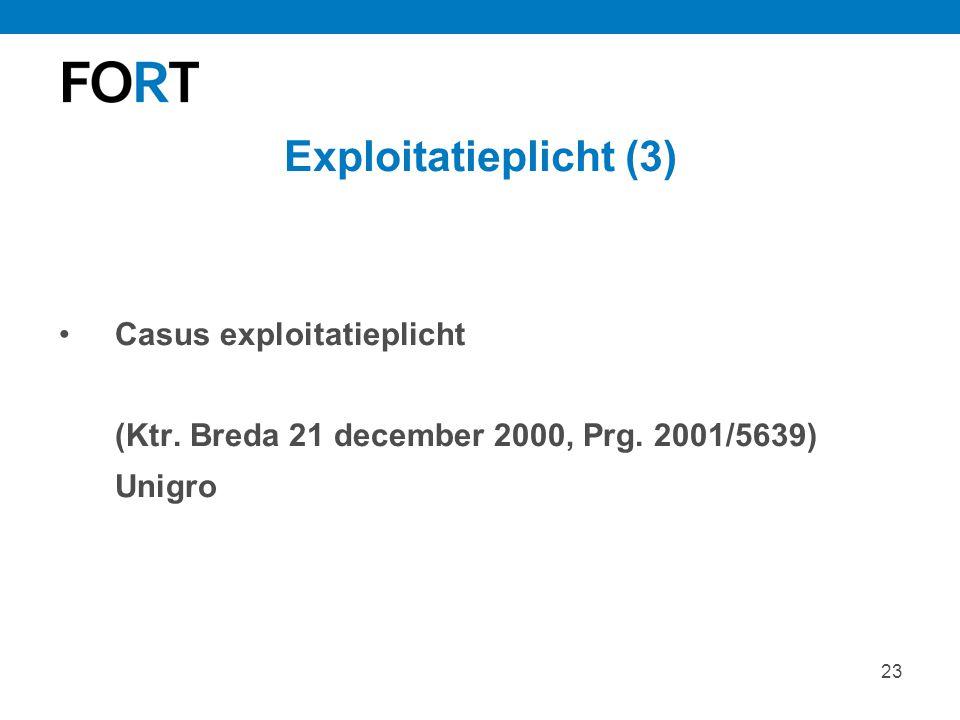 Exploitatieplicht (3) Casus exploitatieplicht (Ktr.