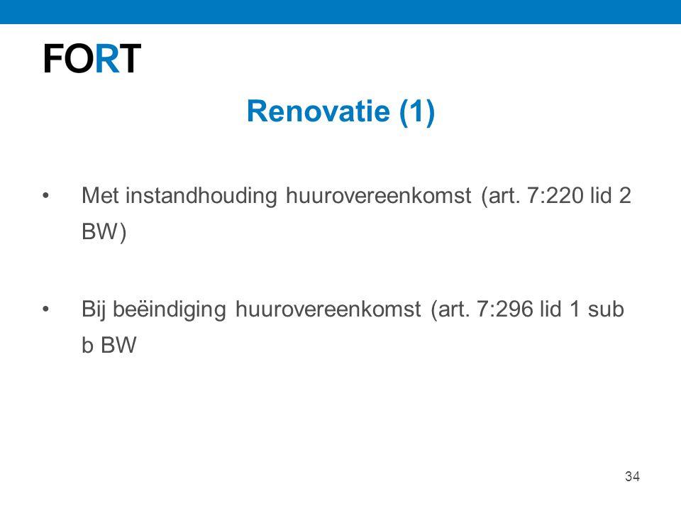 Renovatie (1) Met instandhouding huurovereenkomst (art.