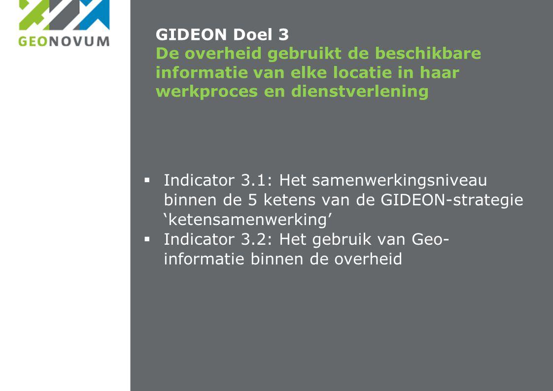 GIDEON Doel 3 De overheid gebruikt de beschikbare informatie van elke locatie in haar werkproces en dienstverlening