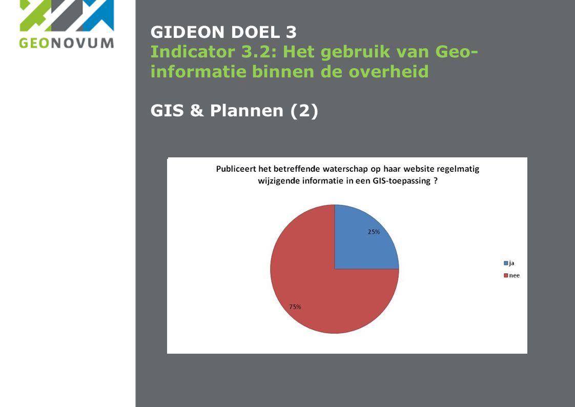 GIDEON DOEL 3 Indicator 3.2: Het gebruik van Geo-informatie binnen de overheid GIS & Plannen (2)